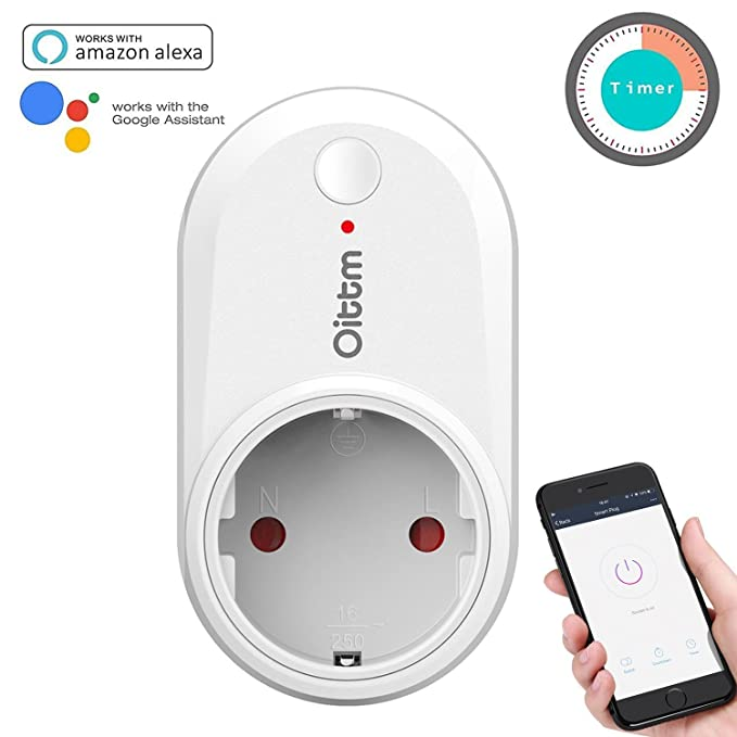 Oittm Enchufe Wifi Inteligente Smart Plug Enchufe Inalámbrico Pared APP Control Enchufe Temporizador y Grupo Funcion con Google Home (Blanco)