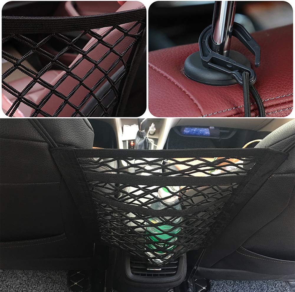 Yacoto Car Mesh Organizer Black 3-Layer Universal Seat Back Net Bag Elastic Large Storage Capacity Purse Handbag Holder