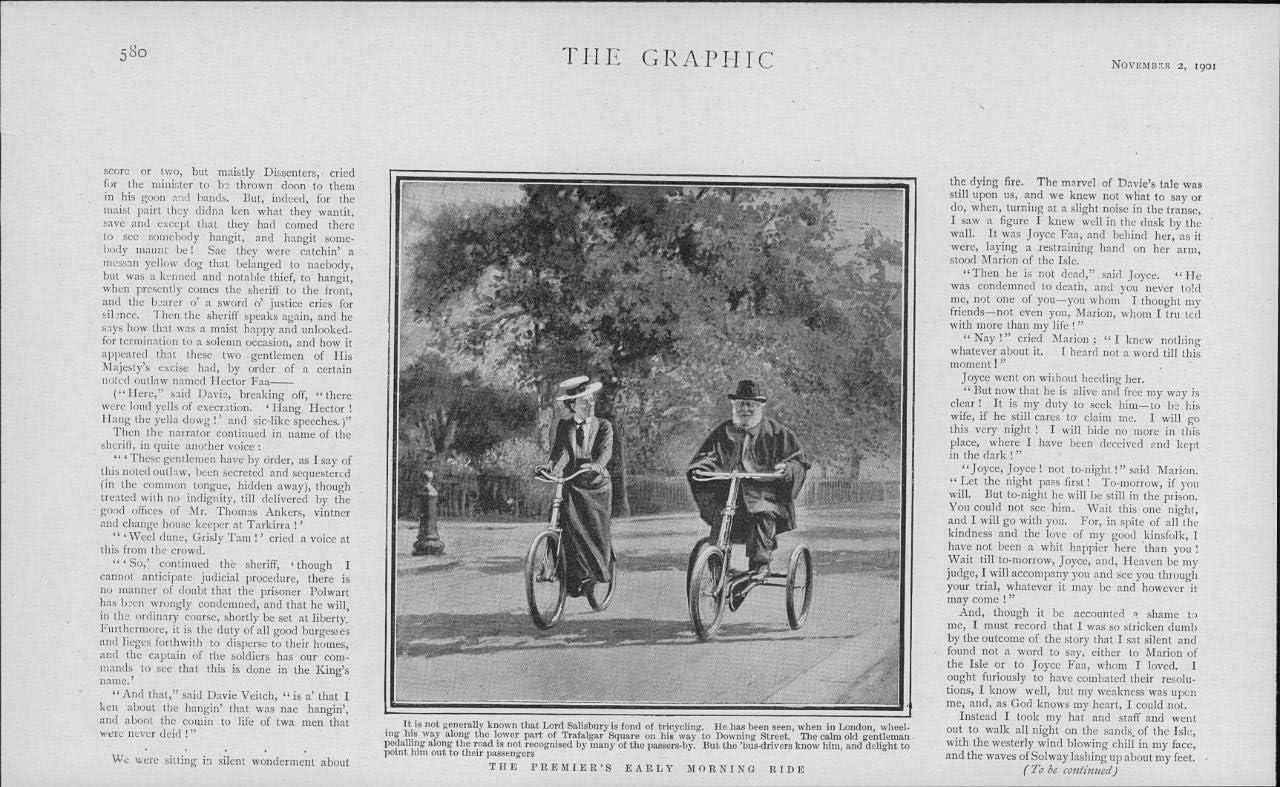 1901 - Impresión antigua de Londres Lord Salisbury Triciclaje Trafalgar Square (70)