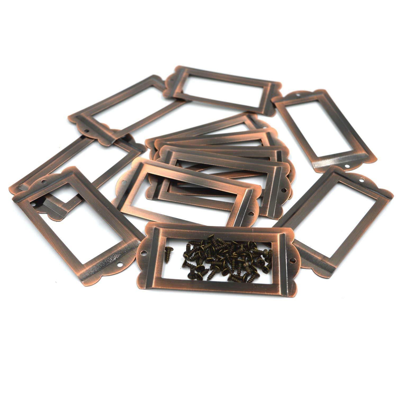 10/pezzi ufficio biblioteca file cassetto armadio di tag etichetta di carta cassetto estraibile//portaetichette//Label Frames card//Label Holder Modern portaetichette telaio in metallo Brushed Bronze