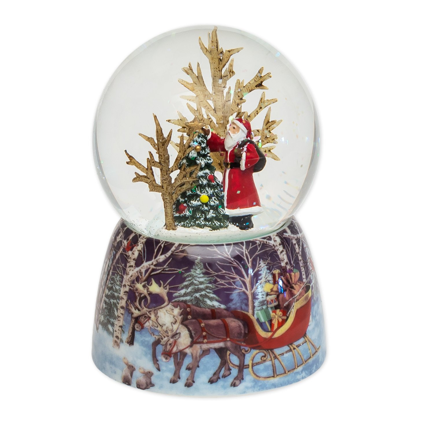 Musical 4.75'' Santa with Christmas Tree Glitter Dome - Plays Jingle Bells