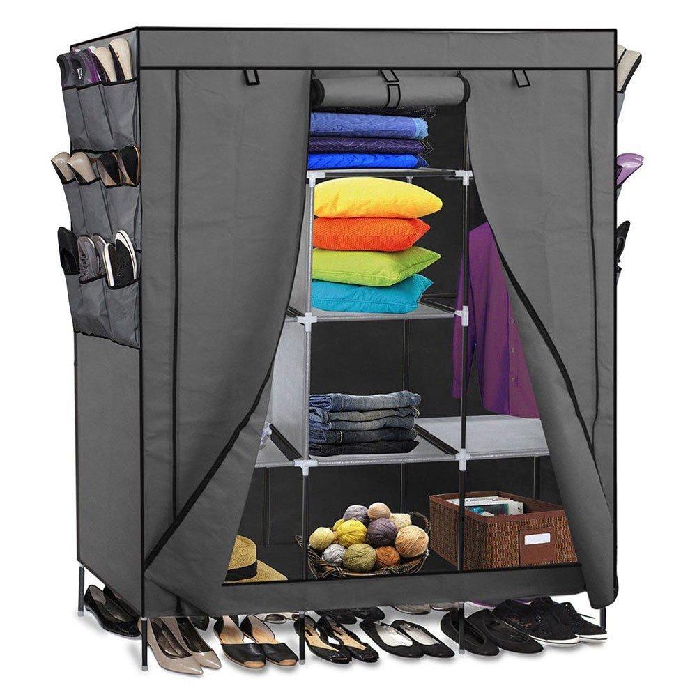 WAJJ 69'' Portable Clothes Wardrobe Closet Shoes Storage Organizer Cabinets Standing Rack Shelves,Multi-Modular Shelf Wardrobe Gray