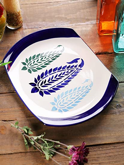 VarEesha Ceramic Rice Plate Platter Microwave Safe Serving Dishes - Serveware u0026 Tableware & VarEesha Ceramic Rice Plate Platter Microwave Safe Serving Dishes ...