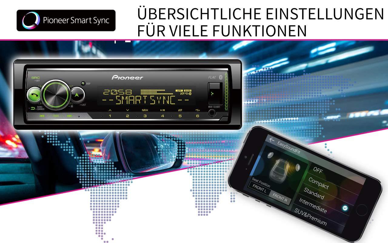 Men/üsprache deutsch Bluetooth Freisprechen USB Pioneer MVH-S310BT 1DIN Autoradio mit halber Einbautiefe rot AUX-IN