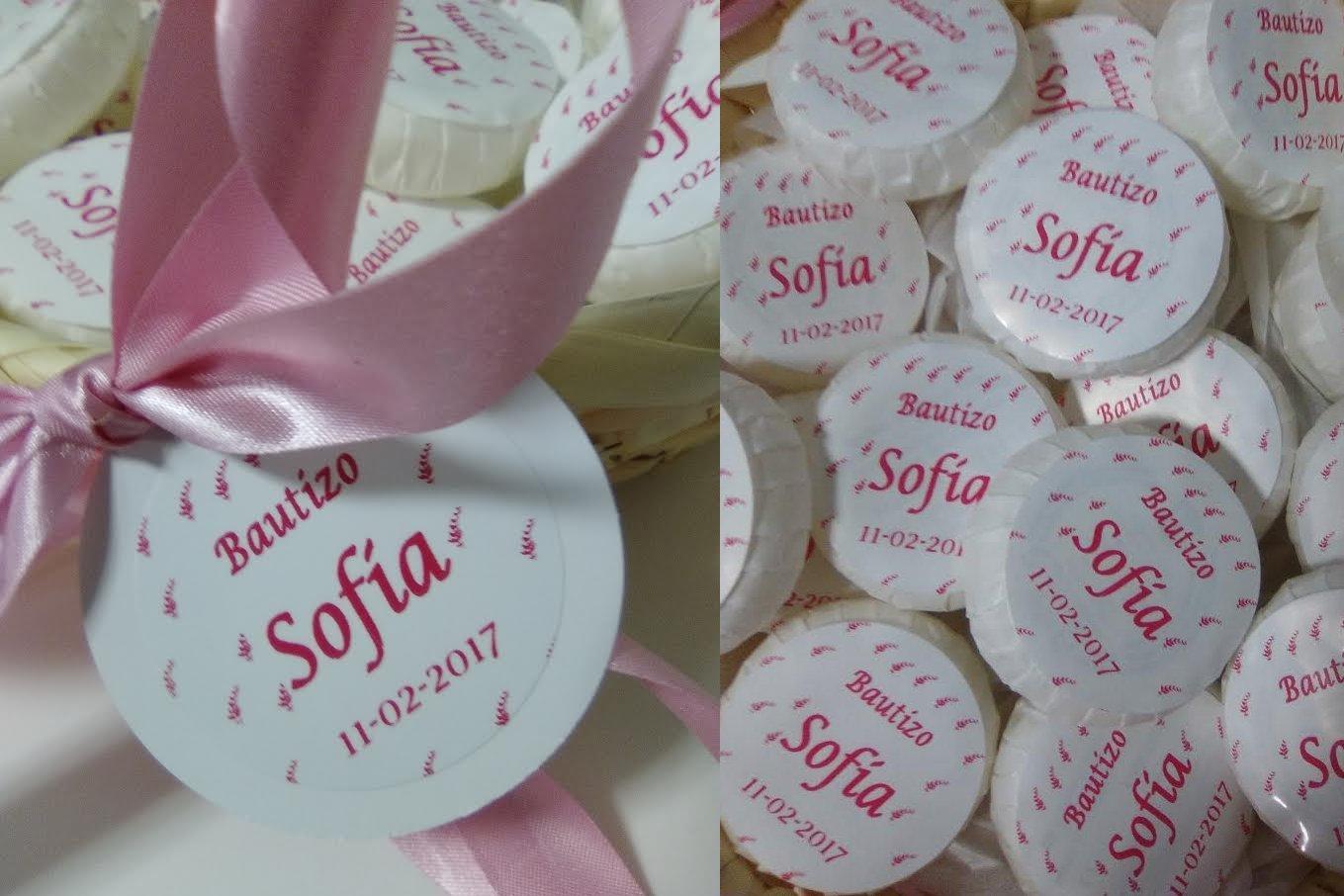 Cesto rosa con 50 jaboncitos personalizados para Bautizo o Comuni/ón