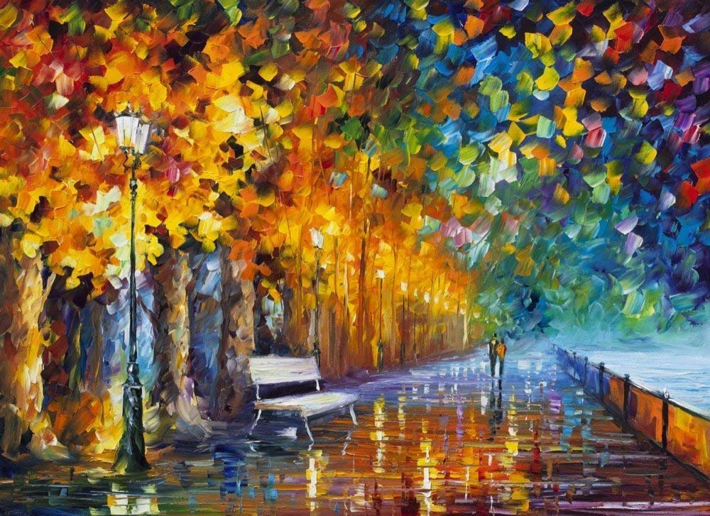 Way To Home Bench Decor Park Fine Art Oil Painting On Canvas By Leonid Afremov