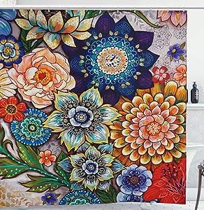 YoKII Boho Floral Fabric Shower Curtain 54 x 78Inch, 180GSM Waterproof Bathroom Shower Curtain Sets Modern Farmhouse Colorful Bouquet Printed Bath Curtains (54 x 78, Colorful)
