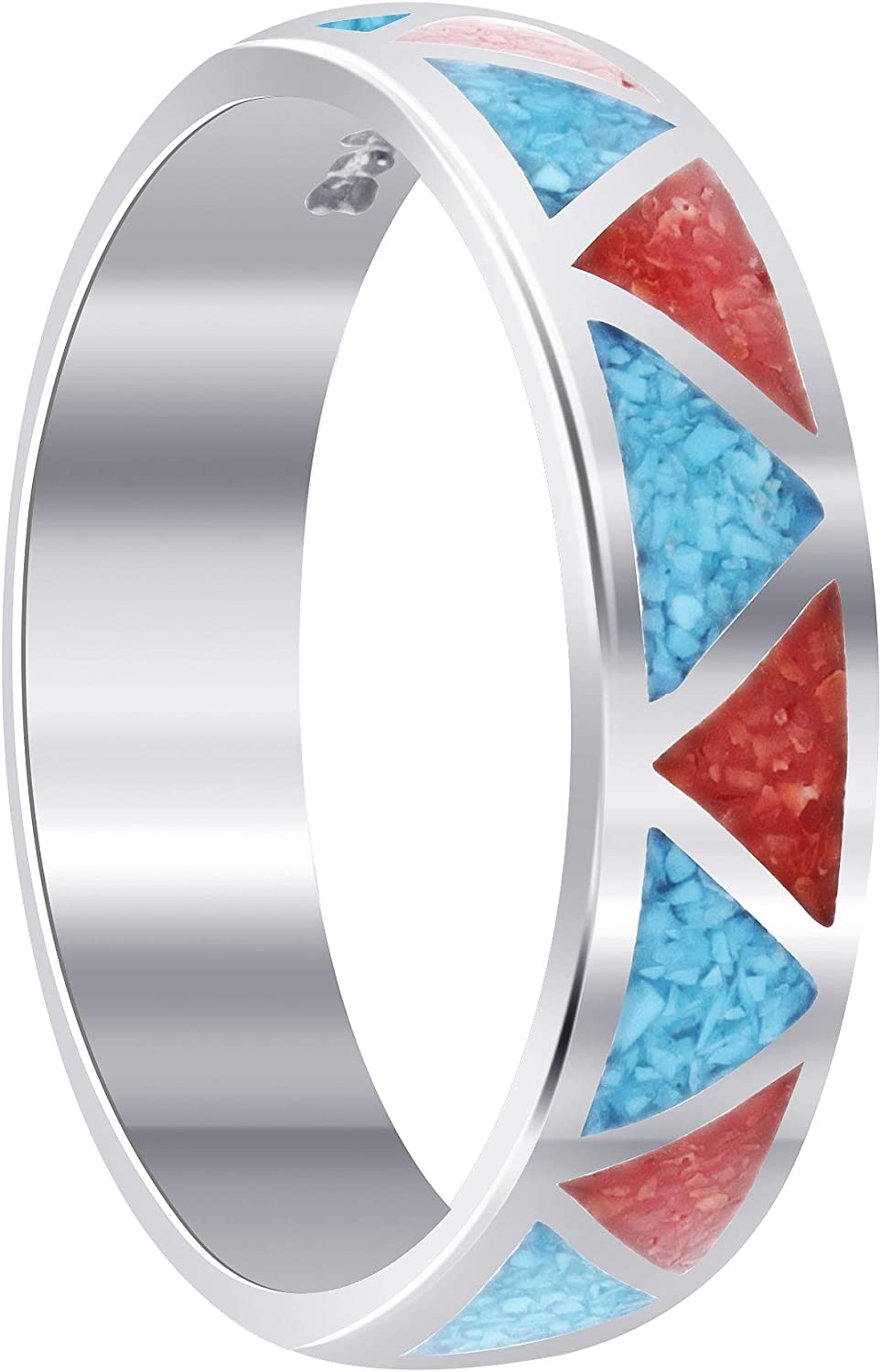 Southwestern Style Turquoise with Coral Gemstone Wedding Band Sterling Silver Unisex Ring
