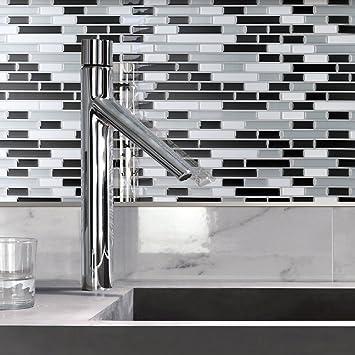 art3d 30cm x 30cm peel and stick tile kitchen backsplash vinyl wall stickers gray. beautiful ideas. Home Design Ideas
