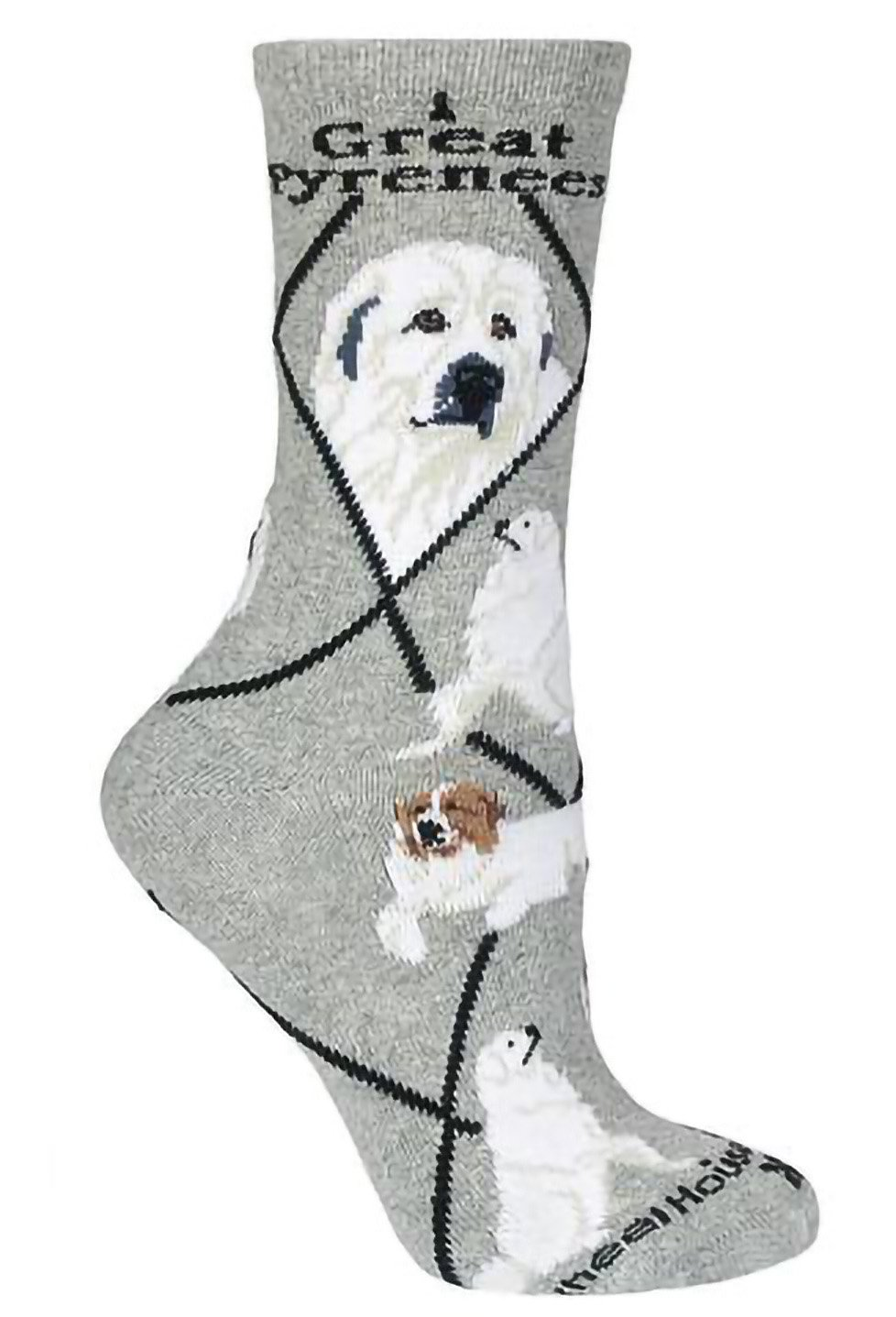 Great Pyrenees on Gray Lightweight Stretch Cotton Crew Sock 2