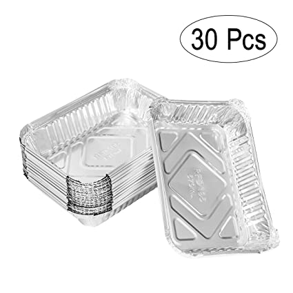 Bestomz - 30 bandejas portacomidas desechables de aluminio, 570ml