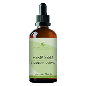 Hemp Seed Oil 4 oz 100% Pure Natural Unrefined Cold Pressed Premium Pharmaceutical Grade A Hemp Oil for Pain Relief Hair Skin Rejuvenating Moisturizing Dry Skin By Organic Pure Oil