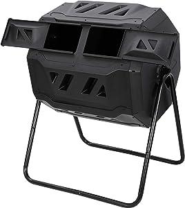 F2C 43 Gallon Dual Chamber Large Composting Tumbler Outdoor Garden Yard Compost Bin w/Sliding Door & Solid Steel Frame, Black 360° Rotating