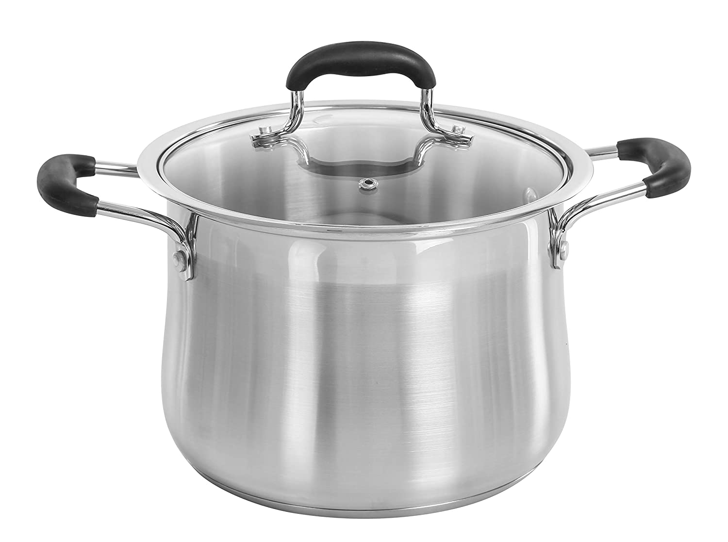 CONCORD Stainless Steel Stock Pot with Glass Lid (Induction Compatible) ((7 QT)