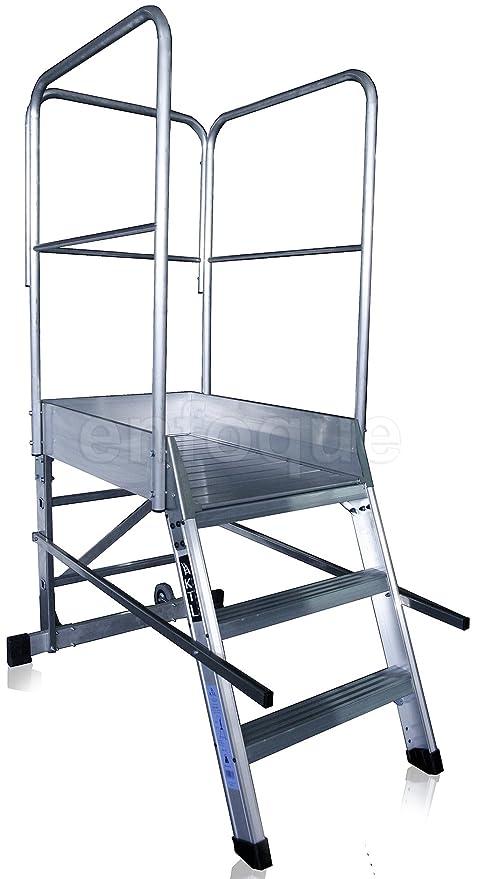 Escalera profesional de aluminio un acceso con plataforma de trabajo 3 peldaños 60x90 serie store 68º