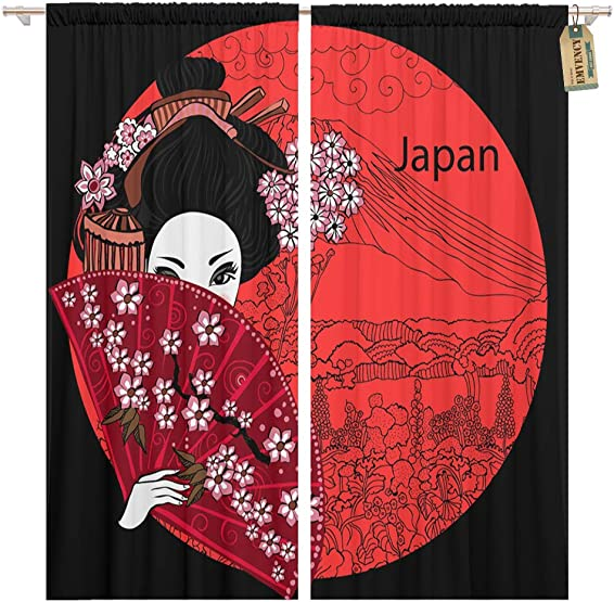 Golee Window Curtain Japan Geisha Japanese Woman Asian Beautiful Billboard Black Haired Home Decor Pocket Drapes 2 Panels Curtain 104 x 96 inche
