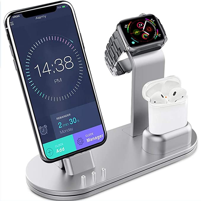 huge discount bde44 cc5fd OLEBR Charging Stand Aluminum Alloy Charging Docks Suitable for Apple Watch  Series 4/3/2/1/ AirPods/iPhone Xs/iPhone Xs Max/iPhone XR/X/8/8Plus/7/7 ...