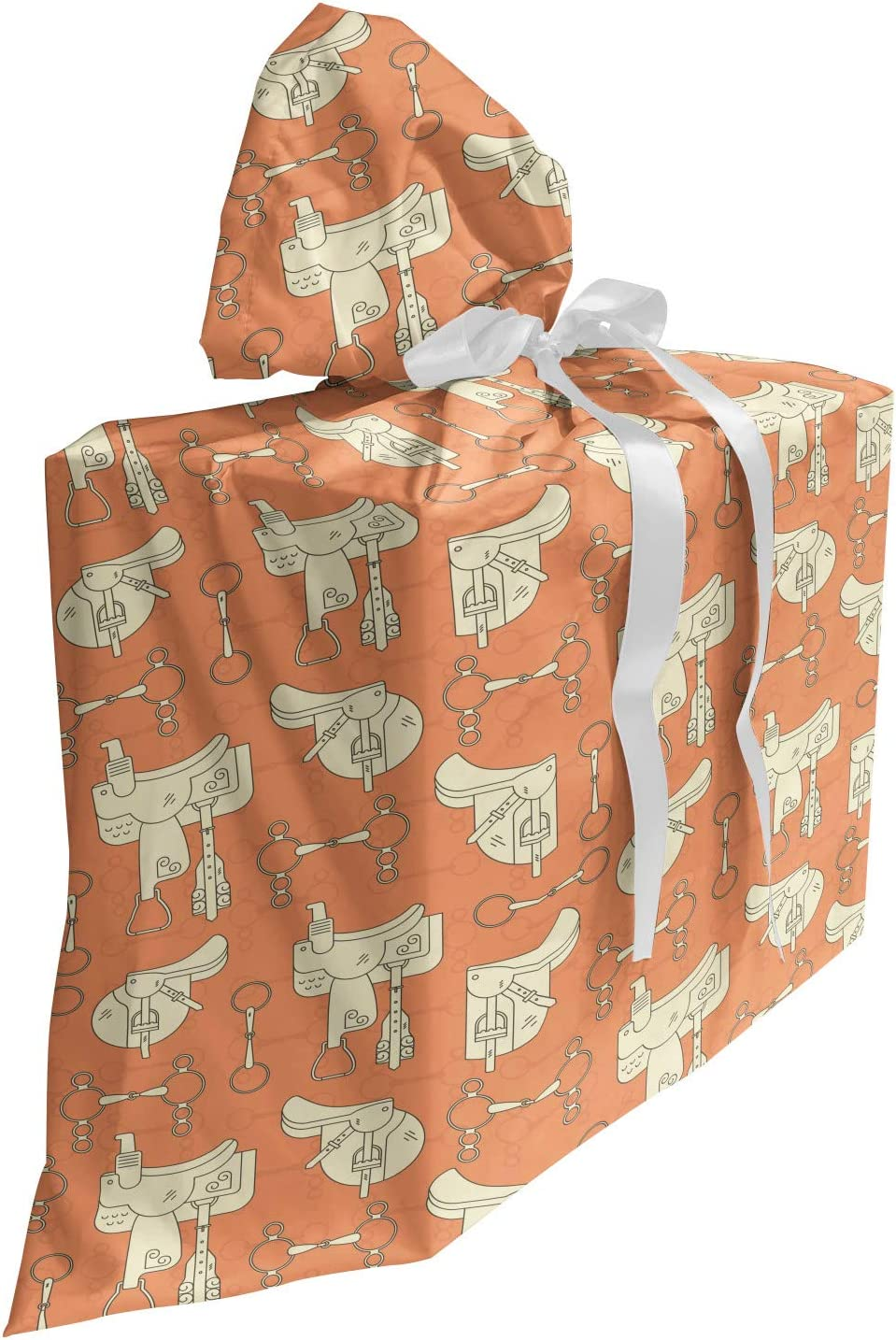 ABAKUHAUS Caballo Bolsa de Regalo para Baby Shower, Sillas de montar occidental Bits Elementos, Tela Estampada con 3 Moños Reutilizable, 70 cm x 80 cm, Melocotón oscuro y crema