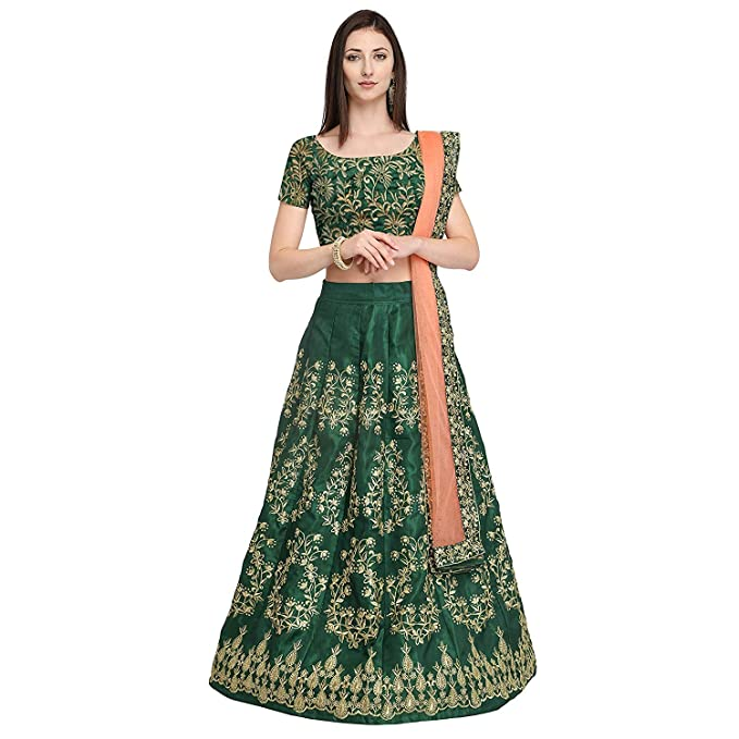 755d84bb44 Queen of India Women's Cotton Silk Embroidered Semi-Stitched Lehenga Choli  and Dupatta Set (Green, Free Size): Amazon.in: Clothing & Accessories