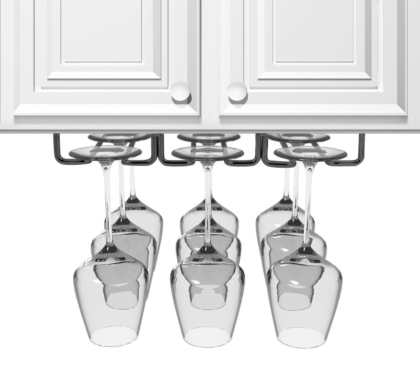 JMiles Under Cabinet Hanging Stemware Rack Hold Up To 9 Wine Glasses (Black) by J Miles CO