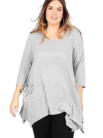 b94c92e0c0c768 Koko Women's Plus Size Grey Pocket Hanky Hem Scoop Neck Swing Tunic with 3/4