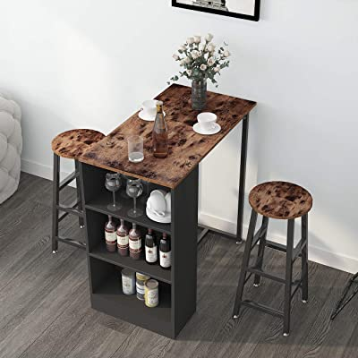 Buy Sogeshome 3 Sets Bar Table With 2 Bar Stools Kitchen Counter With Bar Chairs And Breakfast Bar Table Sets With 3 Storeys Storage Space For Home Kitchen Office Bar Nsdus Dx Z813 Online In Canada B081s19fy6