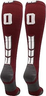 product image for MadSportsStuff Maroon Player ID Custom Number Over The Calf Socks for Softball Baseball Football Boys and Girls
