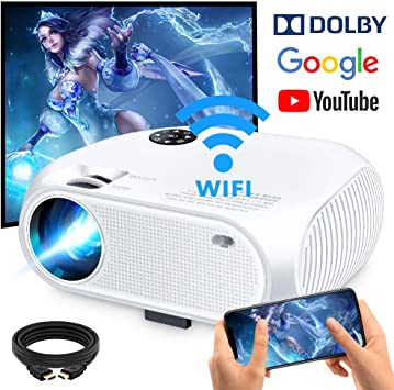 Support 1080P HD,USB AV Compatible with Smartphones,TV Stick VGA SD WiFi Projector 3500Lux Weton Wireless Portable Mini Projector LED Video Projector 200 Display Home Movie Projector HDMI PS4