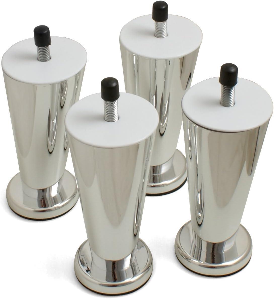 Design61 Juego de 4 patas para muebles Sofá patas de plástico para muebles (imitación de cromo – Posavasos para muebles Sofá Sillón atornillar ...