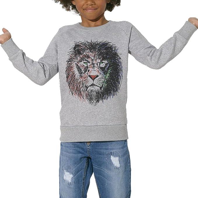 Sudadera, ecológico, para niños de 3 a 14 años, diseño de león-Cecil: Amazon.es: Ropa y accesorios