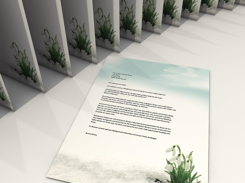 Motivpapier im Set mit Umschl/ägen Schneegl/öckchen 100 Blatt A4 und 100 passende Kuverts
