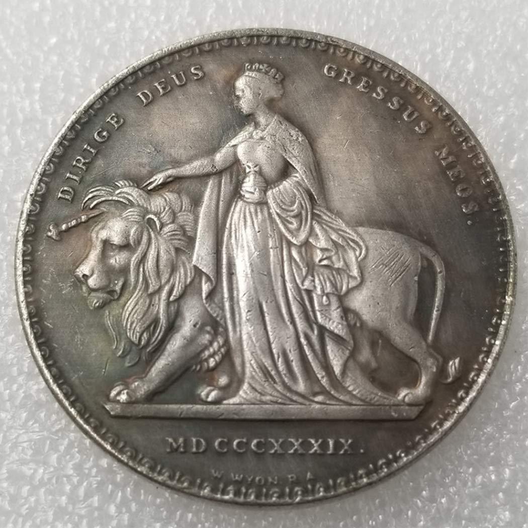 1839 Regina Victoria Coin Uncirculated Condition BestShop YunBest UK Old Coin Moneta da Collezione in Argento Antico