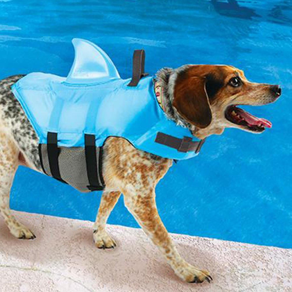 Swimways Sea Squirts Dog Life Vest w/ Fin for Doggie Swimming Safety Color: