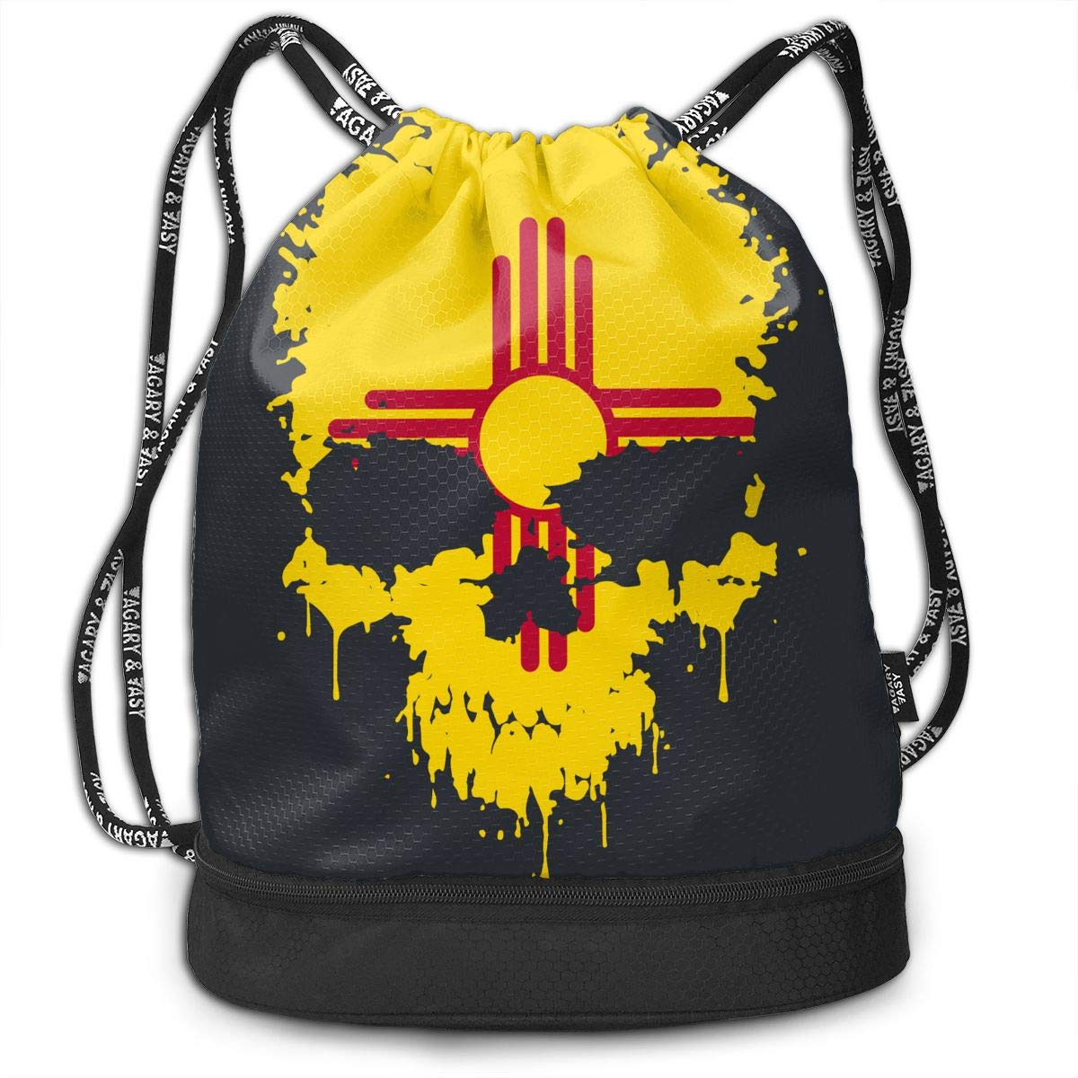 New Mexico Flag Splatter Skull Drawstring Bag Multifunctional String Backpack Custom Cinch Backpack Sport Gym Sack