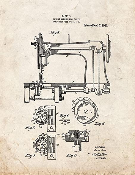 Amazon Sewing Machine Patent Print Art Poster Old Look 4040 X Inspiration Patent For Sewing Machine