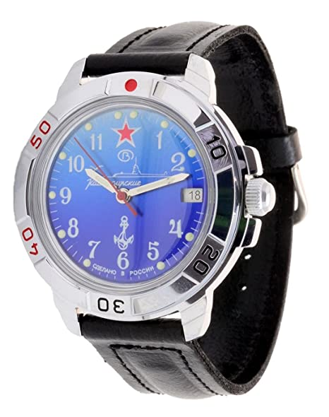 Vostok Komandirskie 2414/431289 - Reloj militar ruso, Submarino U-boot, color azul: Amazon.es: Relojes