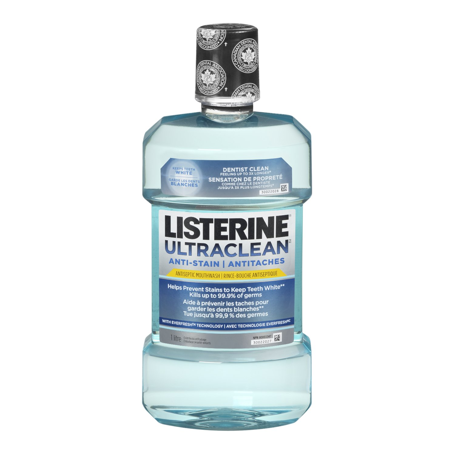 Listerine Ultraclean Anti-Stain Arctic Mint Antiseptic Mouthwash with Everfresh Technology, 250 mL