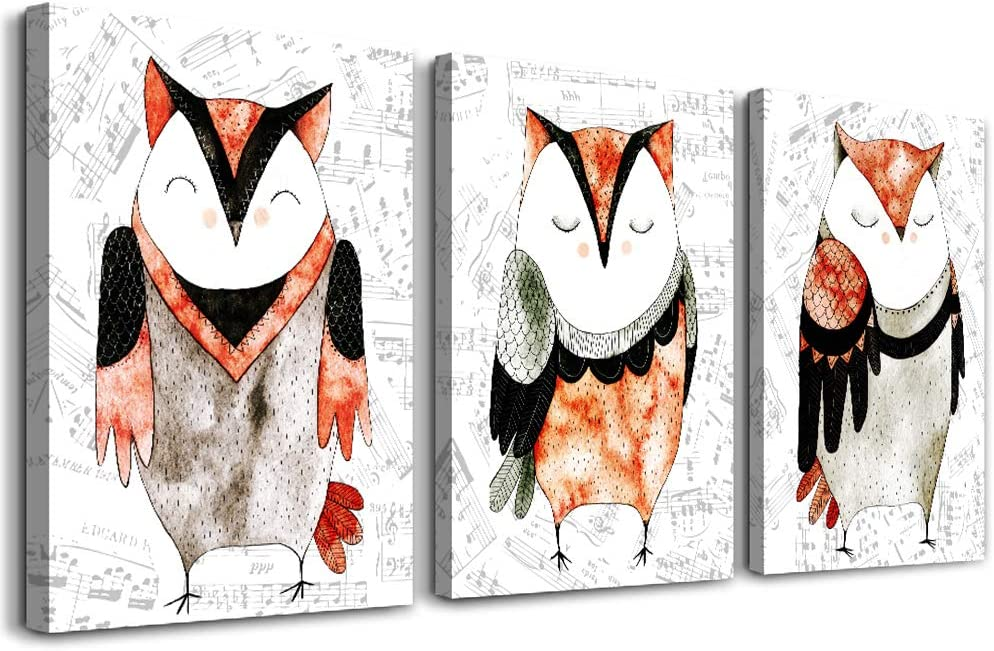 Lovely owl Watercolor painting Canvas Wall Art for living room 3 piece Wall Decor for bedroom bathroom Decorations Cartoon animal Canvas Prints Picture Home Decoration inspirations Poster Artwork