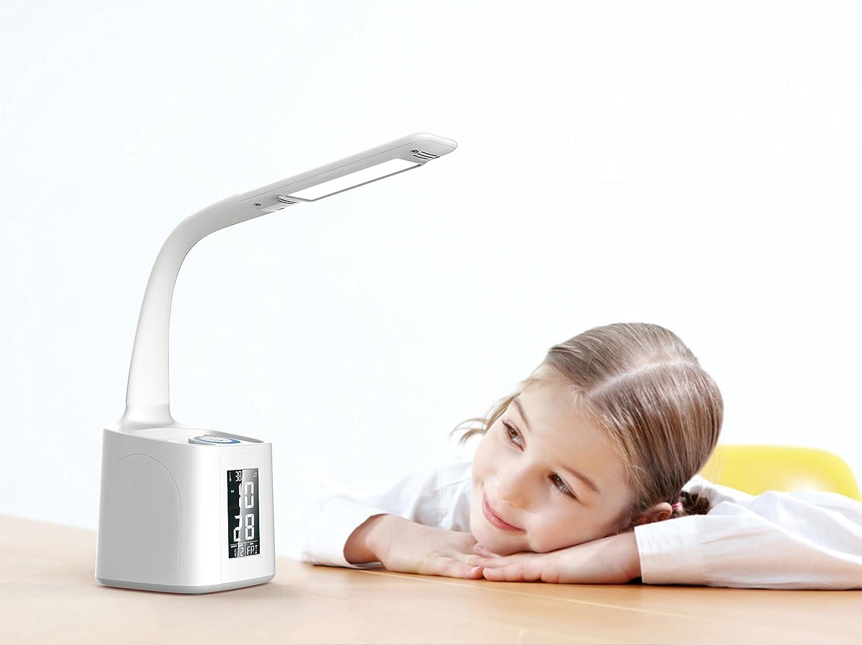 Eye Caring Table Lamp,10W White Led Desk Lamp Wanjiaone Desktop Lamp with USB Charging Port/&Alarm Clock/&Calendar/&Pen Holder/&Color Night Light Girl Study Lamps for Kids