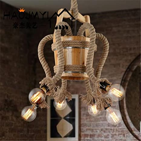 ShengYe Lámpara colgante de techo estilo rústico Loft Bar ...