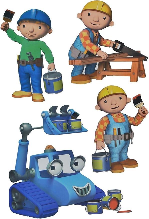 alles meine GmbH 4 TLG Set Wandtattoo Sticker Bob der Baumeister Wandsticker Aufkleber für Kinderzimmer Jungen Baustelle Wendy Baggi
