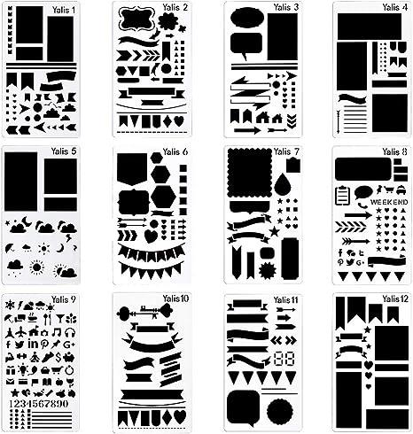 8Pcs//set Conjunto de plantilla de bala diario planificador de plástico Hazlo Tú Mismo Dibujo Plantilla diaryjp