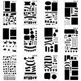 12 Pieces Stencil for Journal DIY Diary Drawing Template