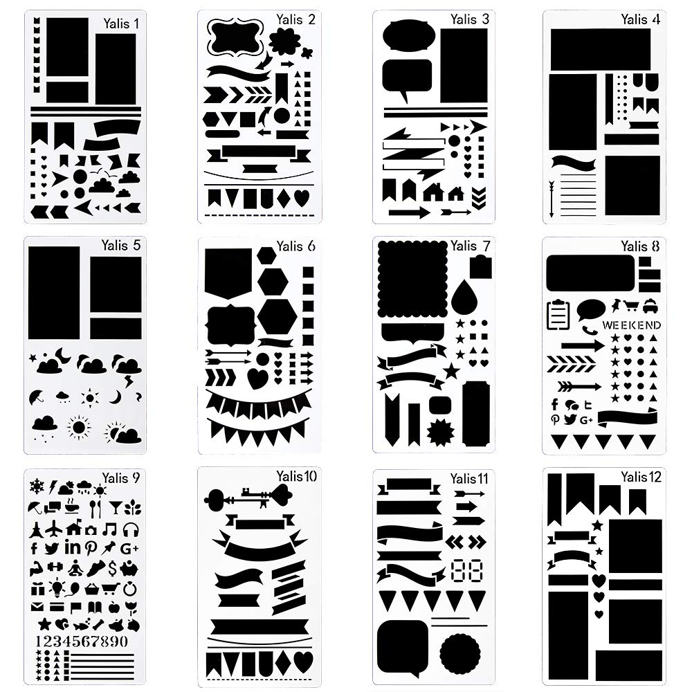 Bullet Journal Stencil Plastic Planner Stencils Journal/Notebook/Diary/Scrapbook DIY Drawing Template Stencil 4x7 Inch, 12 Pieces Yalis-ST Yalis-ST12