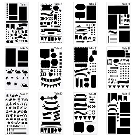 Amazon Com 12 Pcs Journal Stencil Plastic Planner Set For Notebook