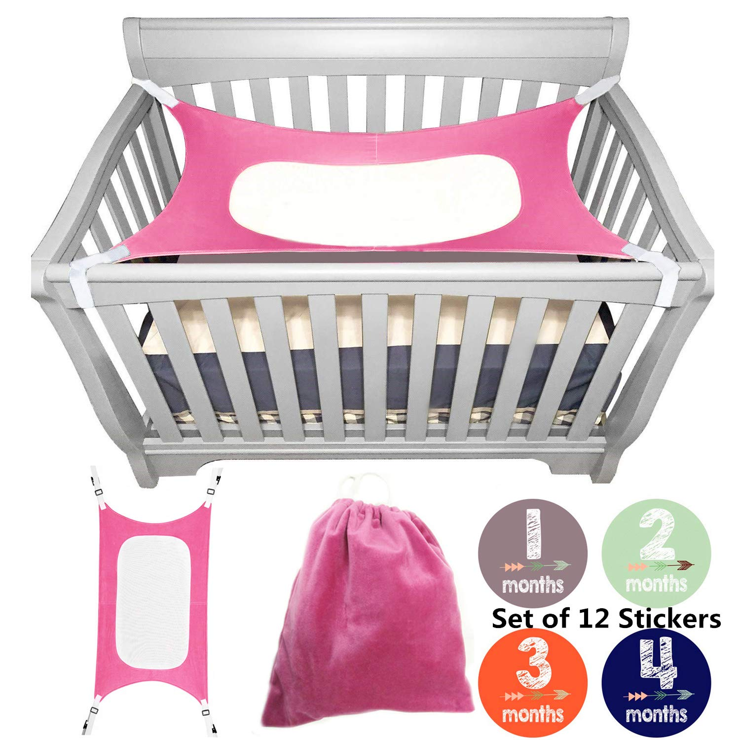 bopopo Baby Hammock for Crib - Mimics Mother's Womb - Infant Hammock 3-Layer Breathable Supportive Mesh Metal Buckle Rosered
