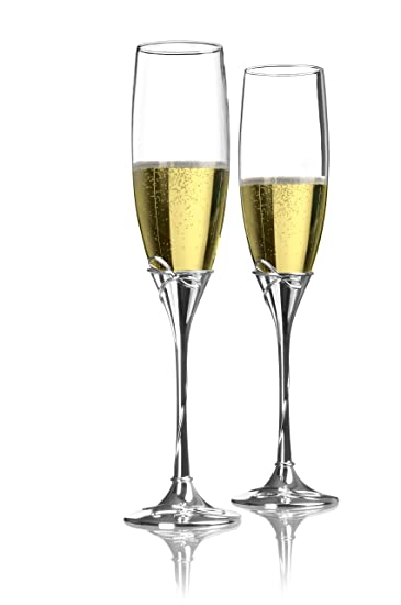amazon com waterford ballet ribbon toasting flutes pair champagne
