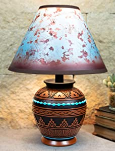 """Ebros Southwest Tribal Navajo Pyramid Vector Geometric Design Petite Vase Shaped Desktop Side Table Lamp with Tie Dye Turquoise Shade 15""""H Native Indian Country Western Home Accent Lighting Decor"""