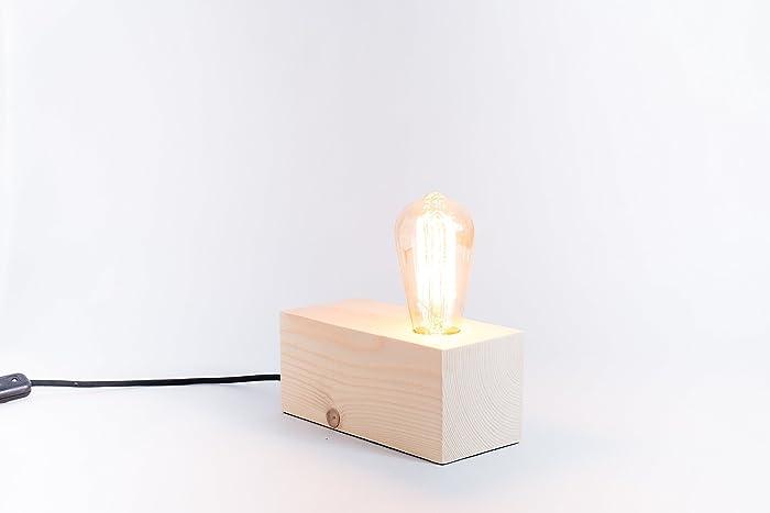 Holzlampe edison handgemachte lampe tischlampe design lampe