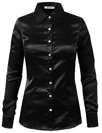 536f5f1cd38aaa NE PEOPLE Womens Light Weight Long Cuff Sleeve Button Down Satin Shirt at  Amazon Women s Clothing store